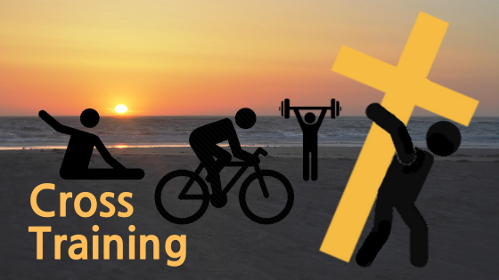 CrossTraining Logo Sunset with a person doing stretches, person bicyling, person weight lifting, and carrying a cross