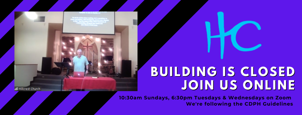our building is closed, join us online for church via zoom. picture of Pastor Bruce preaching via zoom, with purple and black background.